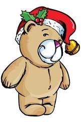In de dag Beren Cartoon Bear with santa hat