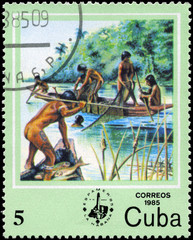 CUBA - CIRCA 1985 Net and spear fishing