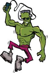 Cartoon Frankenstein monster with MP3 player