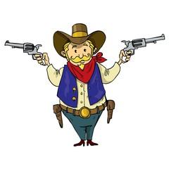 Printed roller blinds Wild West Cartoon cowboy with six-guns