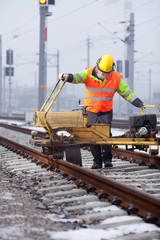 working on the rail tracks
