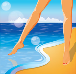 Summer time card. Foots on the beach. vector illustration