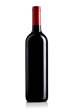 wine bottle with red label