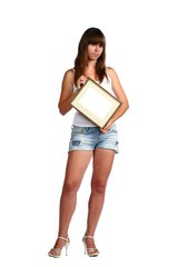 Girl In Shorts with frame
