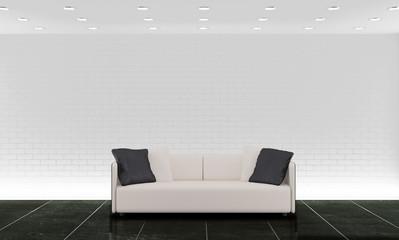 Interno con divano e sfondo di mattoni