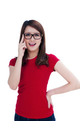 Happy young female in eyeglasses