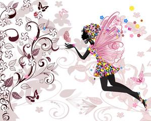 Fotobehang Bloemen vrouw fairy pattern
