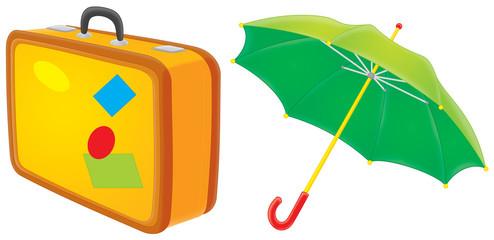 Suitcase and umbrella