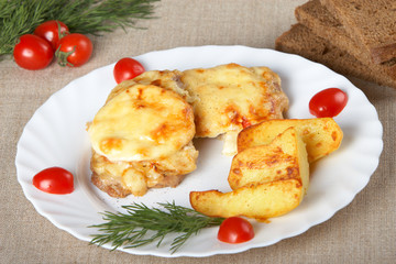European cuisine. Meat in French with fried potatoes