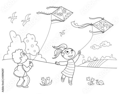 Illustrazione Da Colorare Di Bambino Che Corre Con Palloncini Stock