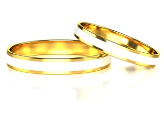 Female and male gold wedding rings