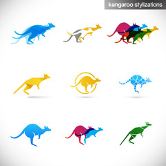 kangaroo stylized illustrations / signs in movement