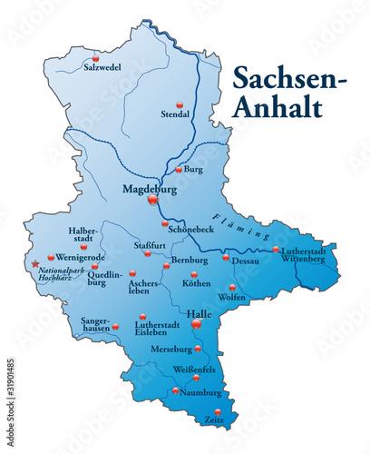Karte Sachsen Anhalt Mit Flüssen.Sachsen Anhalt Als übersichtskarte Blau Stockfotos Und Lizenzfreie