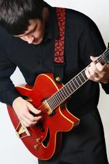 Guitarist. Electric guitar playing.
