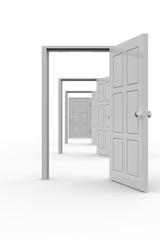 Row of open doors
