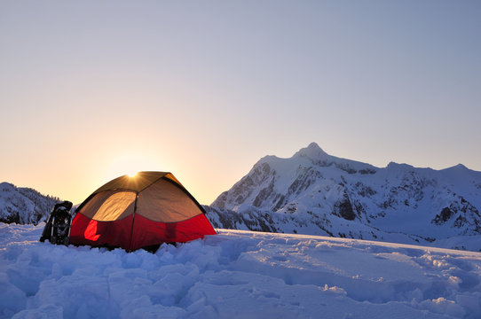 Tent and mount Shuksan at sunrise