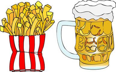 Birra e patatine fritte