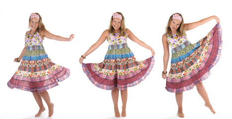 Mädchen Frau buntes Kleid tanzt 3