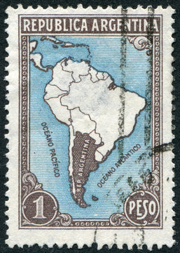 Postage stamp Argentina 1936: Map of South America