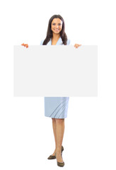 Cute Indian woman presents with a blank white board