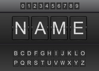Panneau d'affichage d'aéroport, alphabet et chiffres
