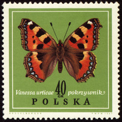 Butterfly Vanessa on post stamp