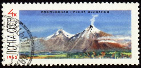 Kluchevskoj volcano in Kamchatka on post stamp