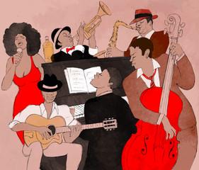 Printed roller blinds Art Studio Jazz band