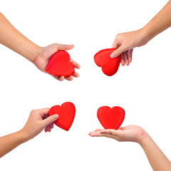 Collection of hands with heart