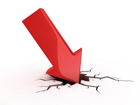 red arrow crash - bankruptcy failure crisis 3d concept