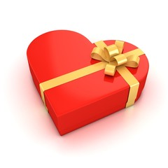 red heart shaped gift box over white background