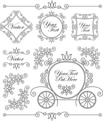 set vector vintage ornaments