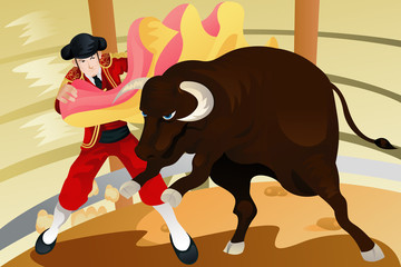Bull fighting matador