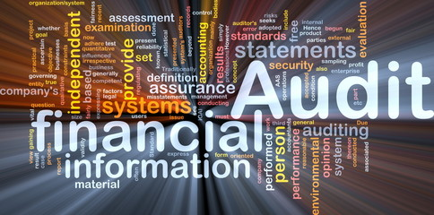 Financial audit background concept glowing