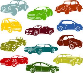 Set of a various cars A