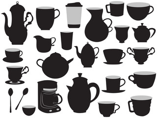 the set of coffee pots and cups