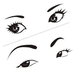 Illustration woman's eyes on white background