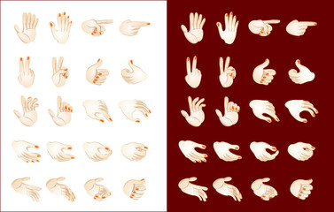 Stylized drawing of different hand position