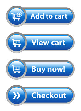 ADD TO CART - VIEW CART - BUY NOW - CHECKOUT Blue Web Buttons