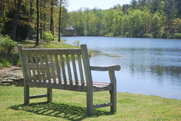Park Bench on Serene Lake in the Spring by Jackie DeBusk