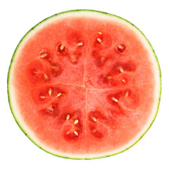 slice of watermelon over white background with clipping path