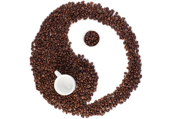 Brown and white symbol made of coffee beans