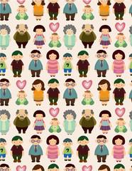 seamless cartoon family pattern.