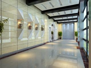 Modern corridor interior image (3D rendering)