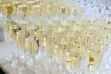 Champagne glasses on the table.