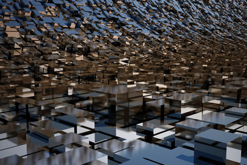 3d shiny chrome abstract background