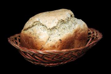 Loaf of bread in basket.