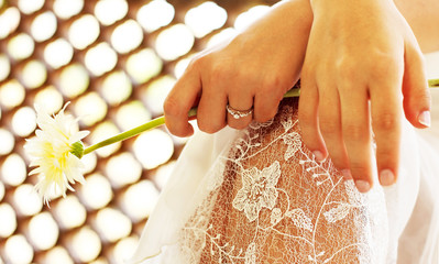 Close Up on bride's hands
