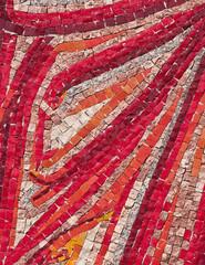 Red stone mosaic