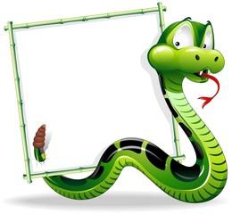Serpente Cartoon Sfondo-Green Snake Cartoon Background-Vector